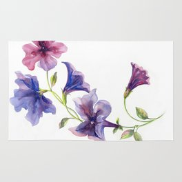 Watercolor branch of petunia. Rug