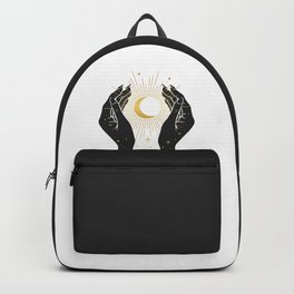 Gold La Lune In Hands Backpack