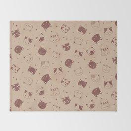 Coffee Duo Tone Cat Pattern Throw Blanket