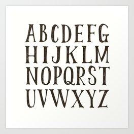 Alphabet A-Z Black and White Art Print