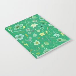 Verdant Flowers on Emerald Background Notebook
