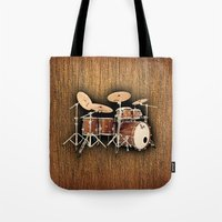 drums Tote Bags featuring Hendrix  Drums by good music