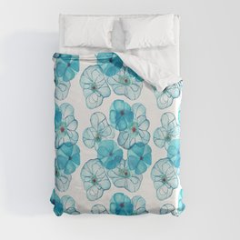 Abstract Blue Floral Duvet Cover