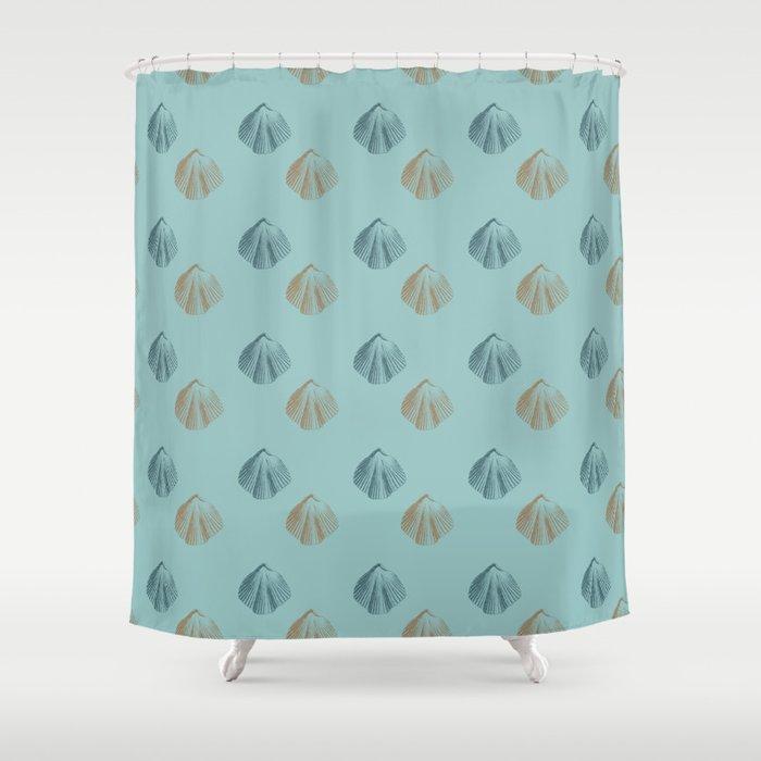 Aqua Peach Beach Shells Shower Curtain