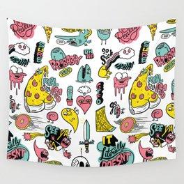 Weirdo Pizza Donut Sword Skull Pattern Wall Tapestry