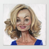 jessica lange Canvas Prints featuring Jessica Lange by Jared Hobson