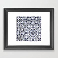 Portuguese tiles pattern blue Framed Art Print