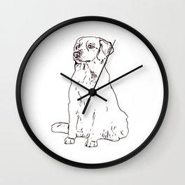 Labrador Golden Retriver dog sitting place gift Wall Clock