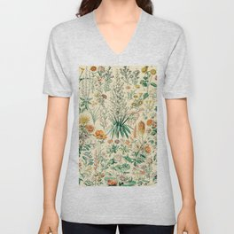 Floral Diagram // Fleurs IV by Adolphe Millot XL 19th Century French Science Textbook Artwork Unisex V-Neck