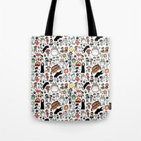 channel Tote Bags featuring Kawaii Ghibli Doodle by KiraKiraDoodles