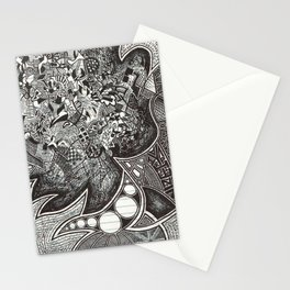 Red, Black, White, And Deja Stationery Cards