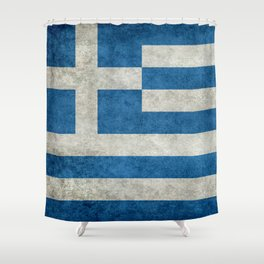 Greek flag in retro grunge Shower Curtain