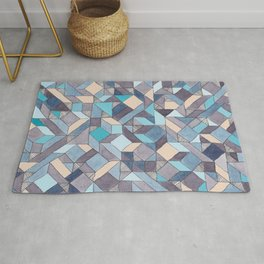 Shifitng Geometric Pattern in Blue Rug