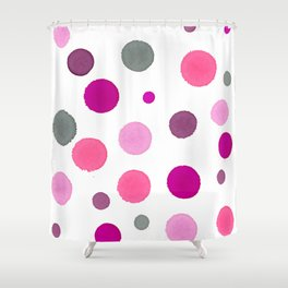 Pink Polka Dot Party - Random Spots of Ink Shower Curtain