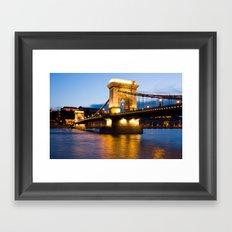 The Chain Bridge in Budapest lit by the street lights Framed Art Print