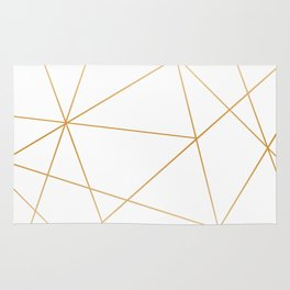 geometric gold and white Rug