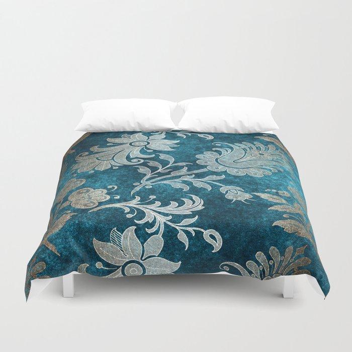 Aqua Teal Vintage Floral Damask Pattern Duvet Cover