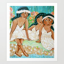 """Hula dancers at the beach"" Art Print"