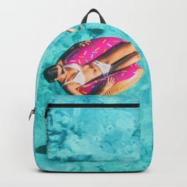 Drone aerial top view of beach vacation woman relaxing in donut float on turquoise ocean Bora Bora Backpack