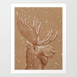 Moose Christmas Art Print