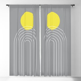 Mid Century Modern Geometric 75 in Ultimate Gray and Illuminating (Sun and Rainbow abstraction) Blackout Curtain
