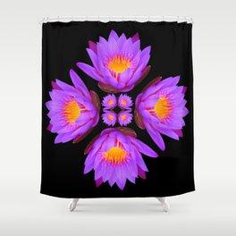 Purple Lily Flower - On Black Shower Curtain