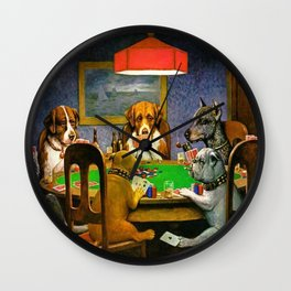 Dogs Playing Poker A Friend in Need Wall Clock