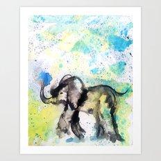 Elephant in the Rain Art Print