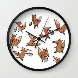 Lots of Freddy Foxes Wall Clock