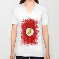 the flash V-neck T-shirts featuring Flash by Some_Designs