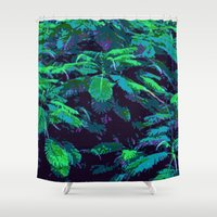 fabric Shower Curtains featuring Tropical Fabric by Glenn Designs