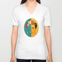 frida V-neck T-shirts featuring Frida by Lucky Skye