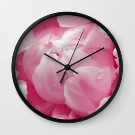 Glorious pink peony with dew drops floral photography Wall Clock