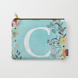 Personalized Monogram Initial Letter C Blue Watercolor Flower Wreath Artwork Carry-All Pouch