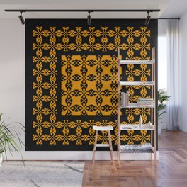 African Ethnic Pattern Black and Orange Wall Mural