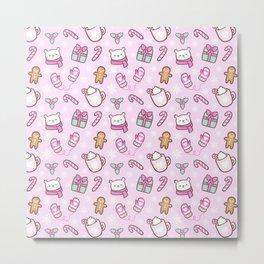 Cute Christmas // Pink Metal Print