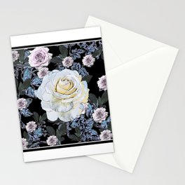 ANTIQUE BLACK & WHITE ROSES BLACK DRAWING Stationery Cards