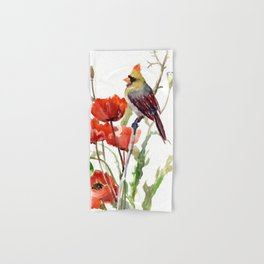 Cardinal Bird And Poppy Flowers Hand & Bath Towel