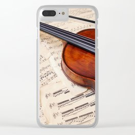 Violin music and notation Clear iPhone Case