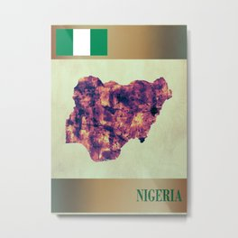 Nigeria Map with Flag Metal Print