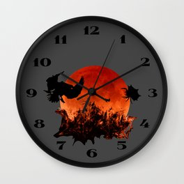 Spooky Halloween Blood Moon Screaming Birds And Spider Wall Clock
