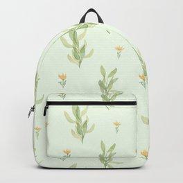 Ivory pastel green orange watercolor floral illustration Backpack