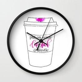 Lipstick and Hustle Wall Clock
