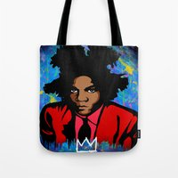 basquiat Tote Bags featuring Basquiat by KgTheOctopus