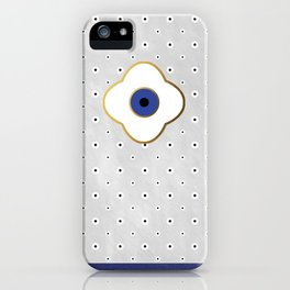 Mati Evil eye protection floral pattern on white iPhone Case