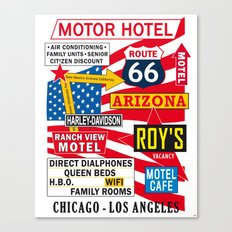 Road 66 and Motel Vintage Print Poster Decoration Canvas Print