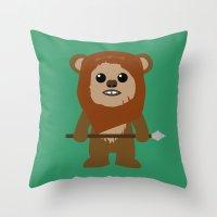 ewok Throw Pillows featuring Ewok forever by Bonitismo