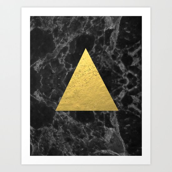 Black Gold Marble Tri Dark Solid Classic Gold Foil On