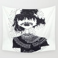 moustache Wall Tapestries featuring the other girl with the flower moustache by Ana Vânia Fonseca