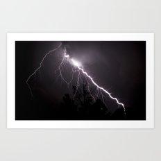Lightning Over Trees Art Print